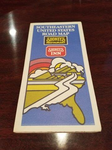 1975 Shoney's Inn & Restaurants Southeastern US Road Map