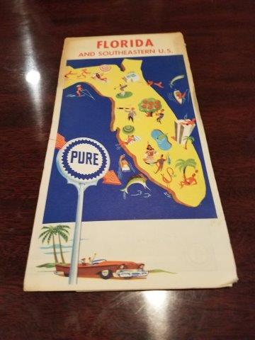 1963 Pure Oil Florida and Southeastern US Road Map