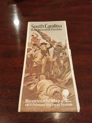 1976 South Carolina Battleground of Freedom Bicentennial Map - Primary Highway System