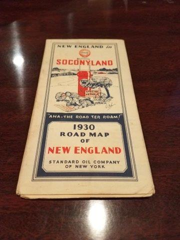 1930 Standard Oil Socony New England Road Map