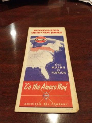 1940 Amoco Pennsylvania, Ohio, New Jersey Road Map