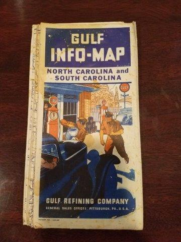1934 Gulf Oil North Carolina and South Carolina Info-Map