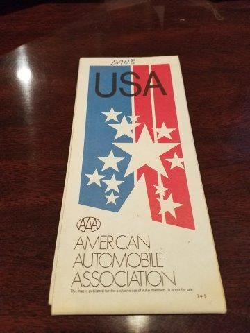1974 AAA USA Road Map