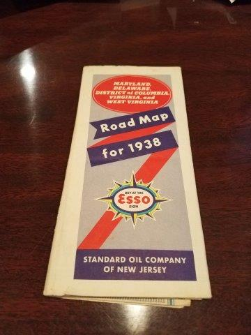 1938 Esso Maryland, Delaware, District of Columbia, Virginia, and West VA Road Map
