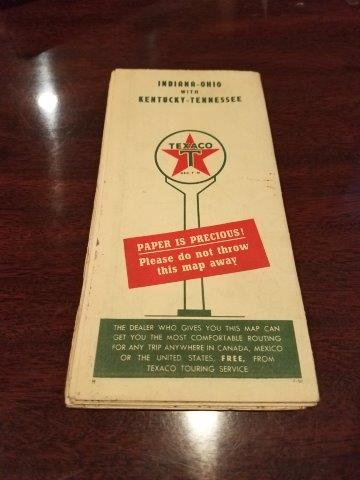 1950 Texaco Indiana-Ohio with Kentucky-Tennessee Road Map