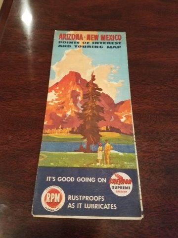 1947 Chevron RPM Motor Oil Arizona New Mexico Road Map