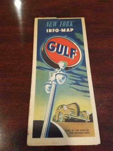 1940s Gulf Oil New York Info-Map