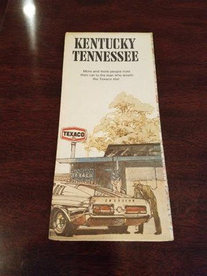 1972 Texaco Kentucky Tennessee Road Map