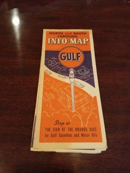 1930s Gulf Oil North and South Carolina Info-Map