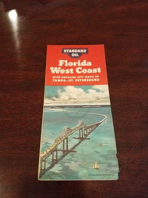 1957 Standard Oil Florida West Coast Road Map