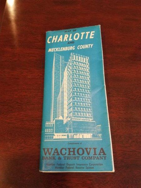 1965 Wachovia Bank Charlotte and Mecklenvberg County Map