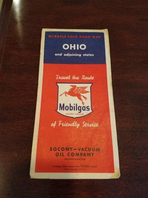 1950s Mobilgas Ohio Road Map