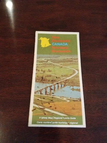 1973 New Brunswick Canada Road Map