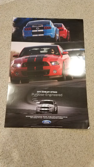 "Ford Dealer 2014 Shelby Mustang GT 500 Double Sided Poster 24"" x 36"""