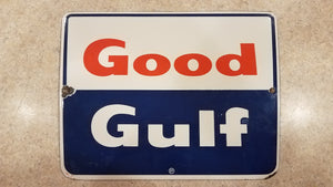 "Good Gulf Porcelain Sign Pump Plate 8.5"" x 11"""