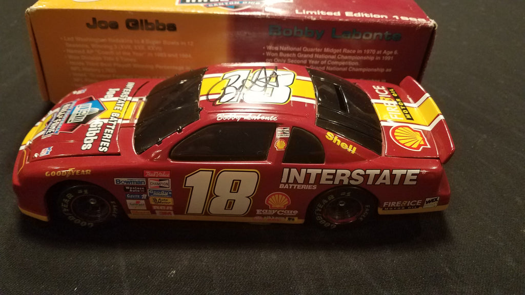 Autographed Bobby Labonte Pro Football Hall of Fame 1996 1:24 Diecast bank in Original Box