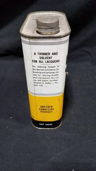 Sunnyside Oil Laquer Thinner 1 Quart Empty Metal Can