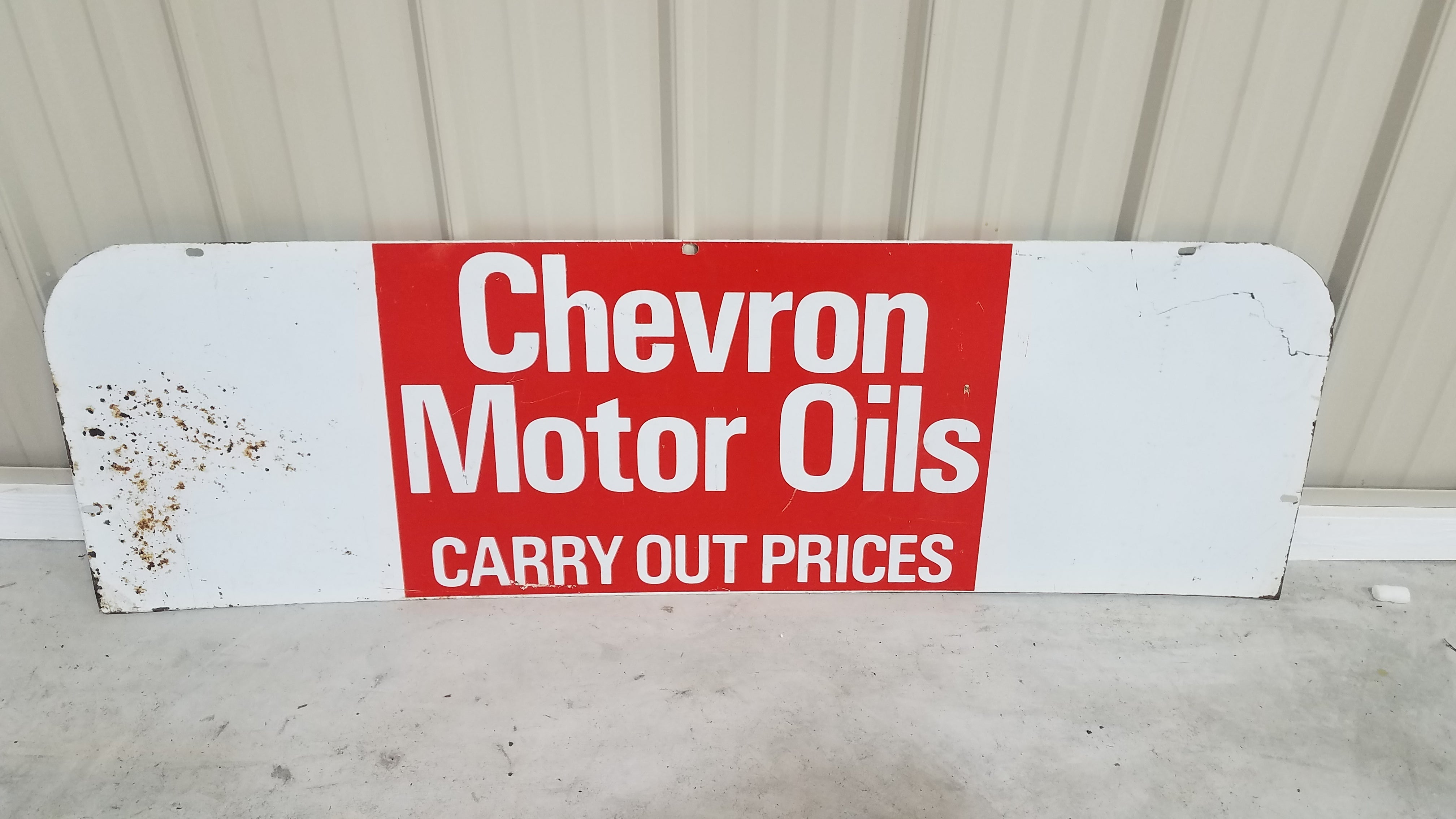 "Chevron Motor Oils Double Sided Metal Sign 51 1/2"" x 16"""