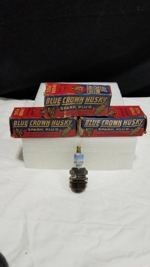 Rare Vintage 3 Blue Crown Husky 73 COM Spark Plugs with Boxes