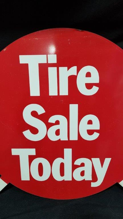Shell Oil Tire Sale Today NOS Metal Tire Insert Sign 15 3/4""