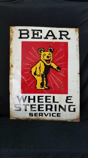 "Original Bear Wheel and Steering Service Metal advertising Sign  40"" x 30"""