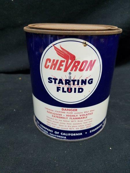 Chevron Starting Fluid Metal Can