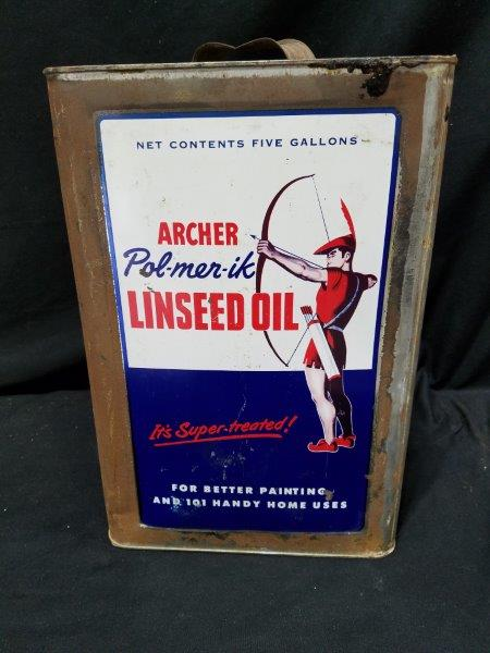 Archer 5 Gallon Linseed Oil Metal Square Can