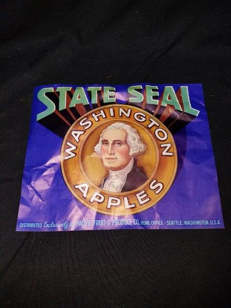 "Original State Seal Washington Apples Fruit and Produce Label 8"" x 6.5"""