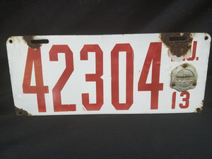 Original NJ Porcelain 1913 License Plate