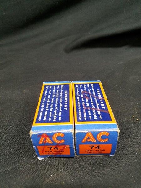 Vintage AC 74 Spark Plugs (Lot of 2)