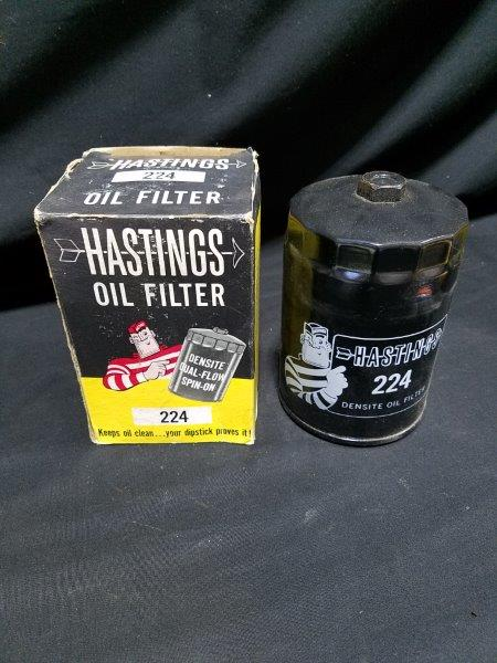 Hastings Oil Filter 224 w/ Graphic and Original Box NOS
