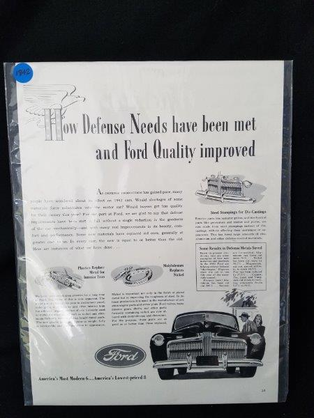 "1942 Ford Motor Company Original Magazine Advertisment Sign 14""x10"""