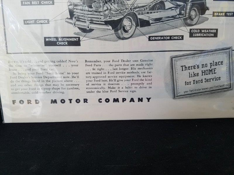 "1946 Ford Motor Company Original Life Magazine Advertisment Sign 14""x10"""