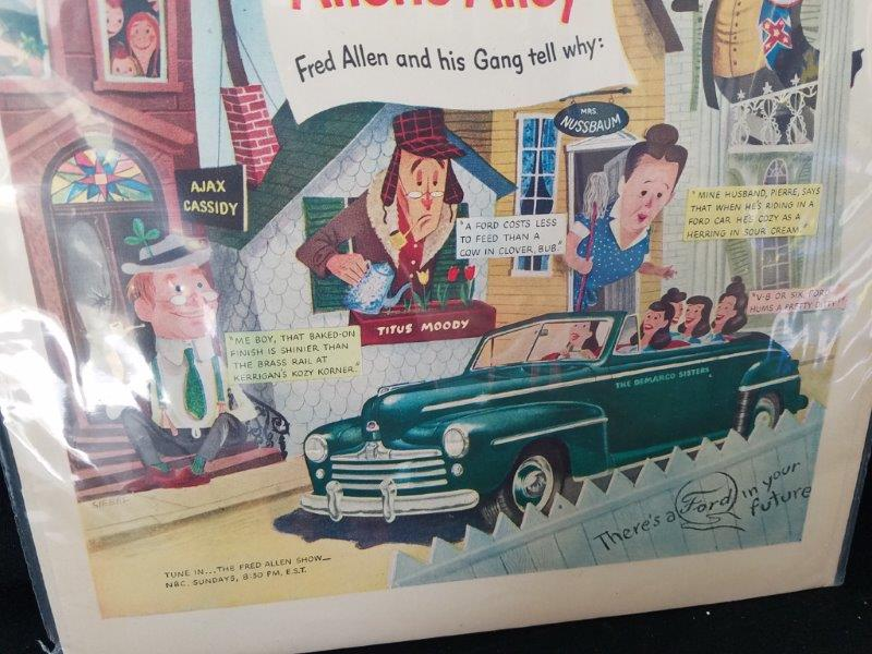 "1948 Ford Motor Company Original Fred Allen Show Magazine Advertisment Sign 14""x10"""