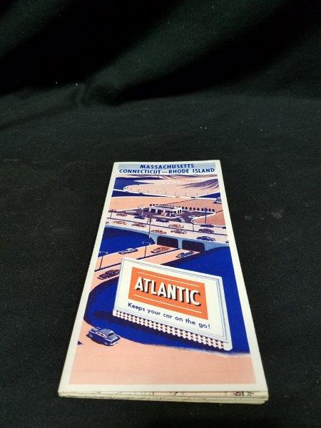 Atlantic 1955 Massachusetts Connecticut Rhode Island  Road Map