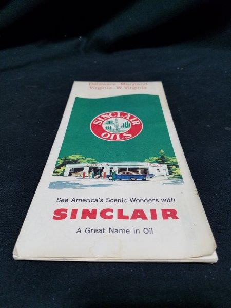 Sinclair Oils 1959 Delaware Maryland Virginia West Virginia Road Map