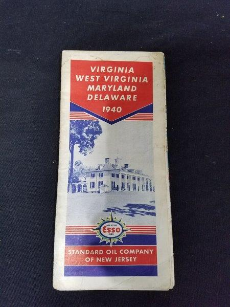 Esso 1940 Virginia, West Virginia, Maryland Delaware Road Map