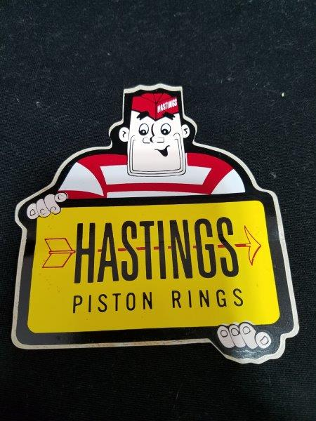 "Hastings Casite Piston Rings Original Decal with Graphics 4"" x 3 1/2"""