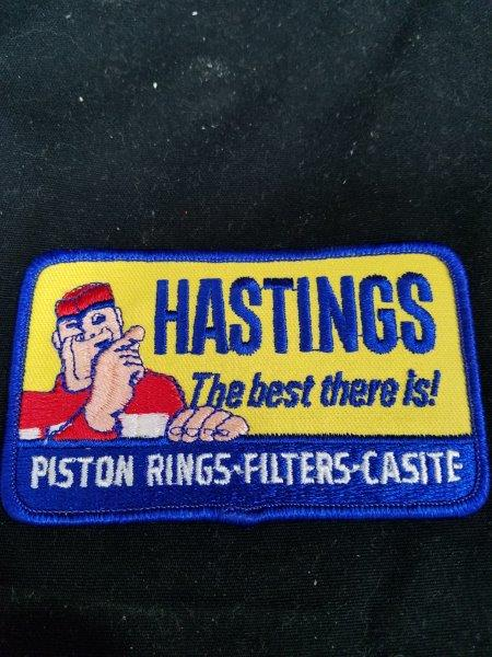 "Hastings Piston Rings Oil Filter Automotive Shop Patch 4"" x 2 1/2"""