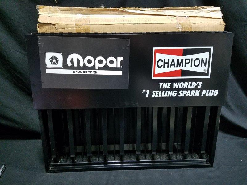 "Champion Mopar Parts Spark Plug NOS Gravity Fed Spark Plug Display Rack 24"" x 19"""