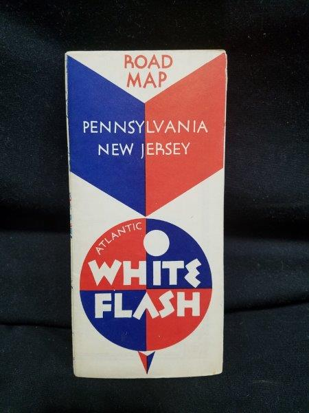 Atlantic White Flash 1940s PA & NJ Road Map