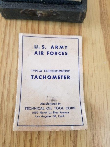 TOTCO Technical Oil Corp US Army Air Force Tachometer