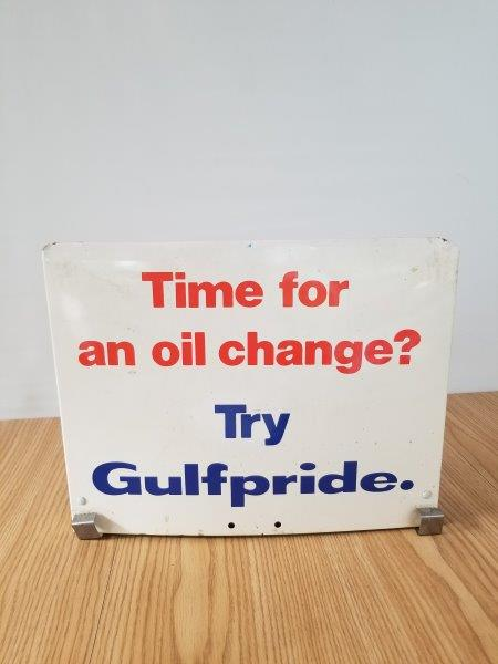 Gulfpride Oil Change Gas Pump Motor Oil Rack Sign