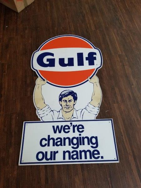 Gulf Oil Service Station We're Changing Our Name Sign