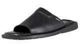 Mario Pellino Handmade Genuine Dress Black Flotter Leather Sandals for Men Open Toe Slip On