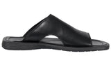 Mario Pellino Handmade Genuine Dress Black Leather Sandals for Men Open Toe Slip On