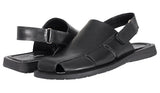 Mario Pellino Mens Venecia Sandals Handmade Genuine Black Leather Sandals For Mens