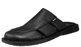 Mario Pellino Handmade Genuine Dress Black Flotter Leather Sandals for Men Closed Toe Slip On