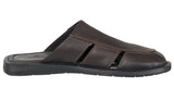 Mario Pellino Handmade Genuine Dress Brown Leather Sandals for Men Closed Toe Slip On
