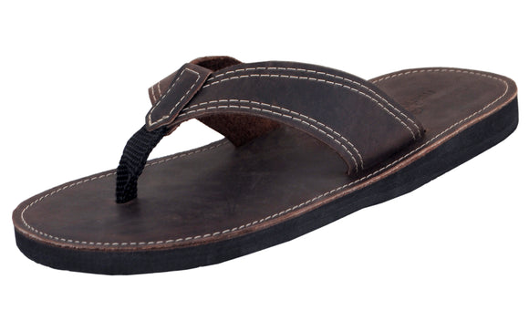 Mario Pellino Mens Flip Flops Handmade Genuine Brown Leather Flip Flops For Mens